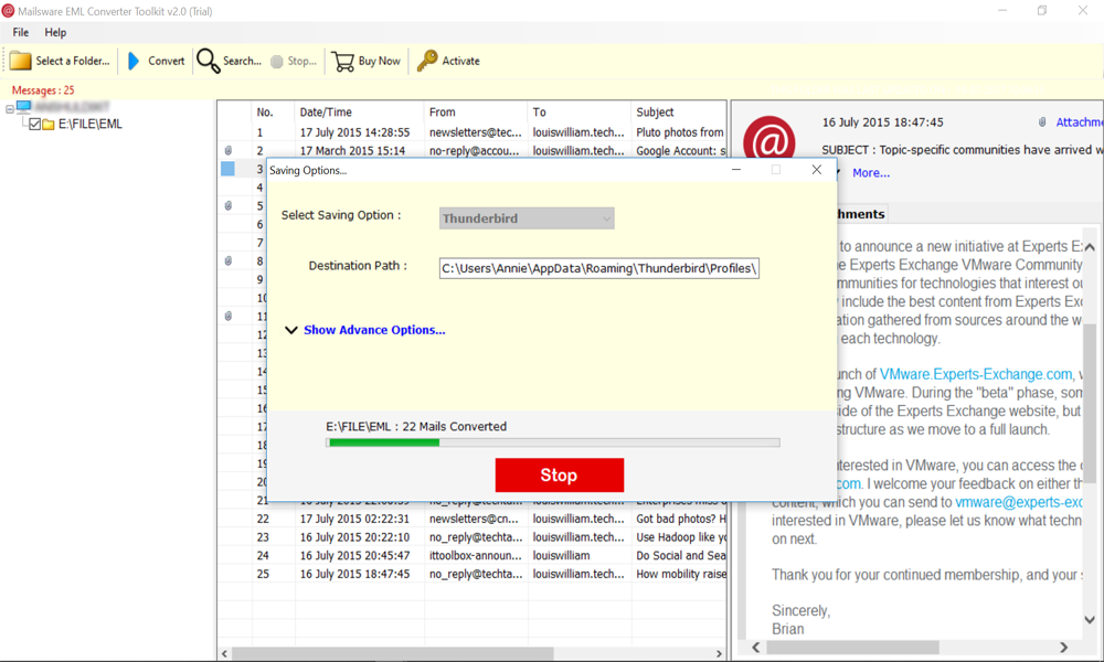 How to Import Mail from eM Client to Thunderbird Account