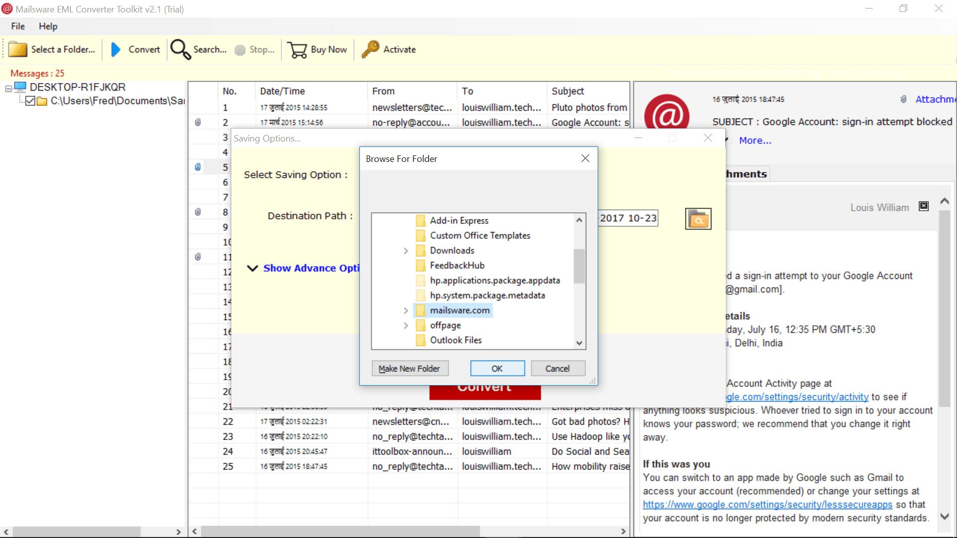 Convert EML to Zimbra TGZ & Import EML to Zimbra Desktop - Mailsware